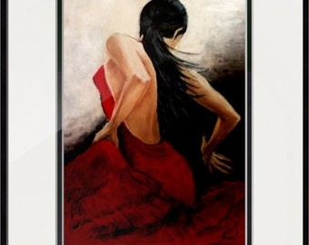 Dansing woman oil painting,Canvas print, oil painting print,Flamenco dancer artwork,Home decor red,Dancer wall decor,Black,Red ,White