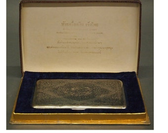 Sterling Thai Sterling Decorated Cigarette Box with Original Box