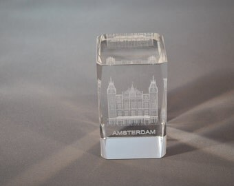 Crystal Amsterdam Paper Weight- Central Station