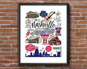 Nashville Drawings and Calligraphy print | Ryman, Grand Ole Opry, Music City, Broadway | City icons | Hand-lettered | 8 1/2x11 Printable