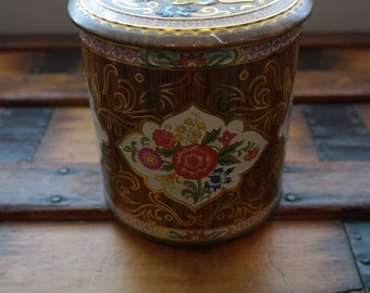 Floral Pattern Metal Tin, made in England