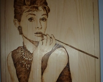 "Audrey Hepburn Basswood Wood Burning Art- Pyrography Plaque - 14""x11"""