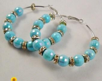 Aqua Blue Spring Blue Hoop Earrings - 2.5in - Basketball Wives Style