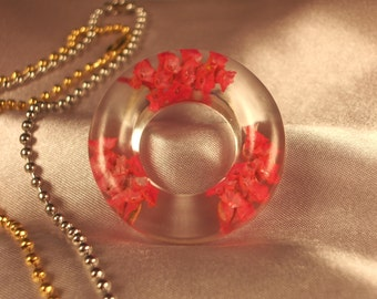 Handmade Clear Resin Circle pendant with Dainty Hot Pink Flowers