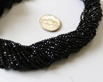 AAA Quality Natural 2.10 mm Black Spinel Micro Faceted beads/ Spinel Faceted Rondelle Strand/ AAA Black Spinel Beads/ Black Spinel Faceted