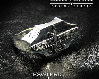 Big & Heavy Faravahar Ring  , Sterling Silver .925 - Ancient, Made in USA