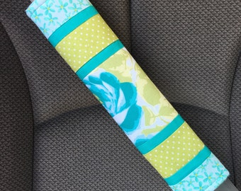 Adult Seat Belt Strap Covers - Reversible Blue and Green Regular Seatbelt Strap Cover - Padded Car Seat Belt Cover - Lap Belt Cover