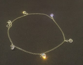 Sterling Silver Crystal Charms Anklet, Silver anklet, Womens Feet Jewelry, Chain Anklet ( AS1)