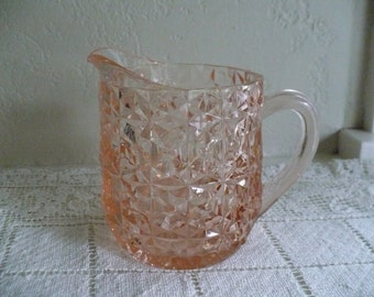 Holiday Pink by Jeannette, Buttons and Bows, glass 16 ounce milk pitcher 4 1/2 inches