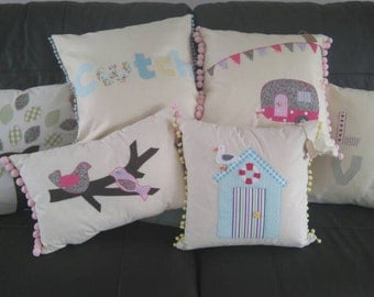 Handmade 'applique' cushion covers. Various colours and designs.  You may request a picture of your choice, I'll do my best to make it.