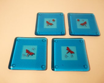 Fused Glass Butterfly Coasters, set of 4, square design