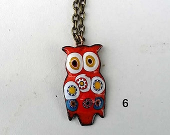 Owl pendant , Enamel  at your colour for  no extra waiting time with Murano millefiori glass . For all ! man, woan, child .
