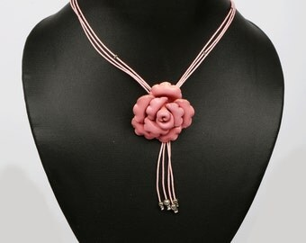 Pink Leather Flower Necklace