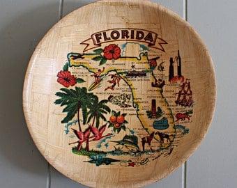 VIntage Florida Souvenir Bamboo Bowl