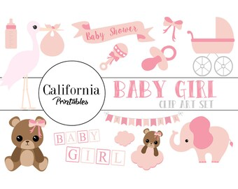 FREE COMMERCIAL USE Baby Shower Clip Art Set - Set of 22 - Baby Shower Clip Art - Baby Shower Vector -  Girl - Instant Download - Scrapbook