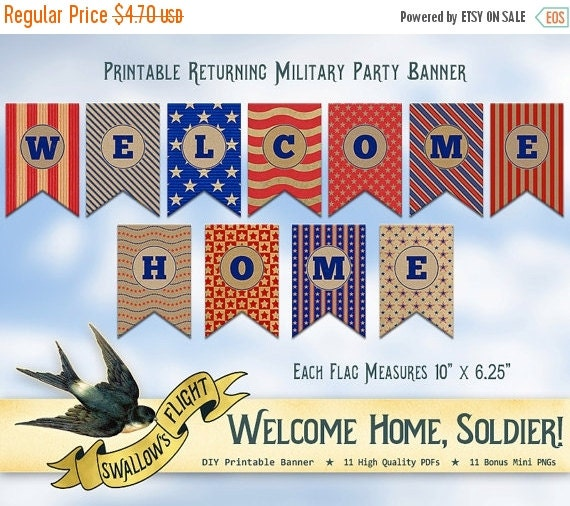 Printable Welcome Home Sign: Printable Welcome Home Banner Bunting Military By