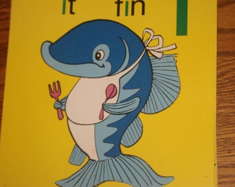 Large Vintage Phonics Flashcard - Short I - Fish- Yellow Poster - Learning Tool