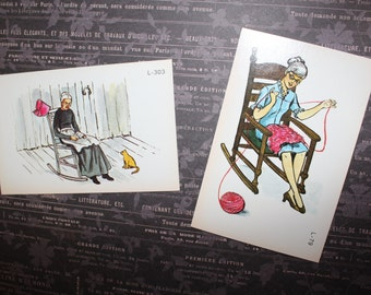 Vintage Flash Cards - Lady Knitting and Grandma Reading Ephemera Cards - Rocking Chair Lady