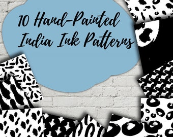 INDIA INK Pattern Set of 10 - Hand Painted Vector Surface Pattern Designs - Repeating  - Apparel, Stationery, Mugs, many uses