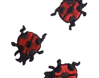 Pack of 3 Ladybirds Red Black Embroidered Iron On Appliques