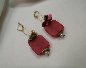 Spring handmade earrings in red color