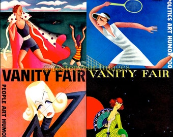 Vintage VANITY FAIR Magazine Covers (B) - Digital Images Collage Sheets - Instant Download - 3 PNG Files 4x4 - 2x2 - 1x1
