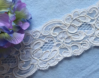 5yds White Rose Galloon Reembroidered Lace Trim-Bridal or craft lace trim