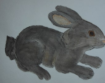 "Original water color painting - Rabbit - Titled  ""Hopper"""