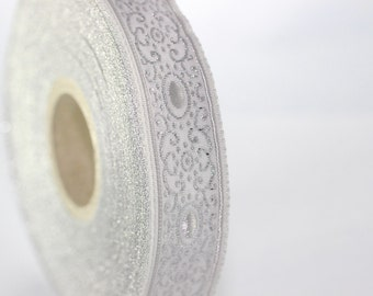22 mm Grey/white authentic Jacquard ribbon (0.86 inches) - woven ribbon, authentic ribbon - Sewing - Scroll Jacquard trim