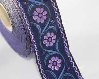 22 mm purple Floral Embroidered ribbon (0.86 inches) -  Vintage Jacquard - Floral ribbon - Floral trim - woven jacquard - jacquard ribbons