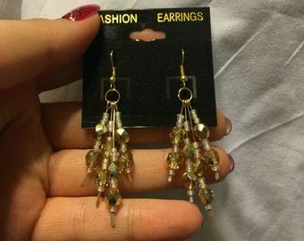 Golden Champagne Dangle Earrings