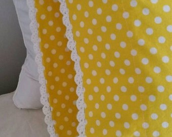 You Are My Sunshine Crochet Edge Pillowcase Set, Brightly Colored and Vintage-Inspired