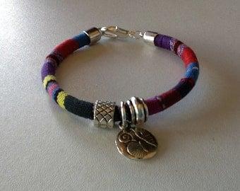 Multicolored cotton ethnic bracelet silver colored accessories