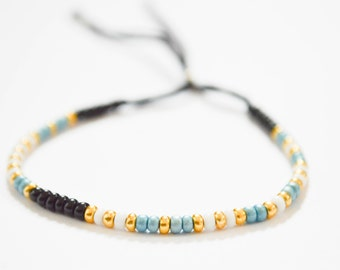 CARPE DIEM morse code-beaded bracelet-adjustable-seed beads/Beads Bracelet with ' Carpe Diem ' in morse code-adjustable