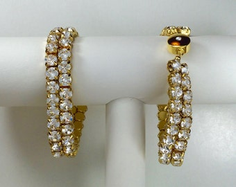 Crystal Clear Glitterati Bracelet - Swarovski Crystals, Magnetic Clasp, Gold Plate