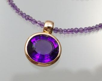 Amethyst pendant Amethyst necklace 750 / - gold 42 cm unique master work forged