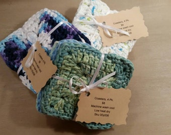 Hand crocheted coasters-4 pack
