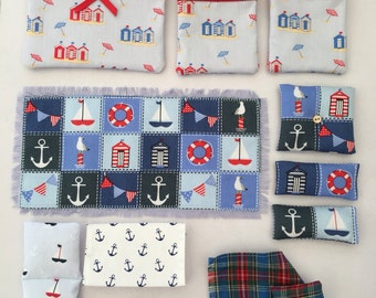Cushions, bedding and rug set to fit Syvanian Families Seaside Cruiser Houseboat ( Boat NOT included)