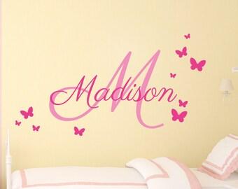 Baby Girl Nursery Wall Sticker – Personalized Girls Name Wall Decal - Butterflies Wall Sticker -  Monogram Name Wall Sticker –  Wall Sticker