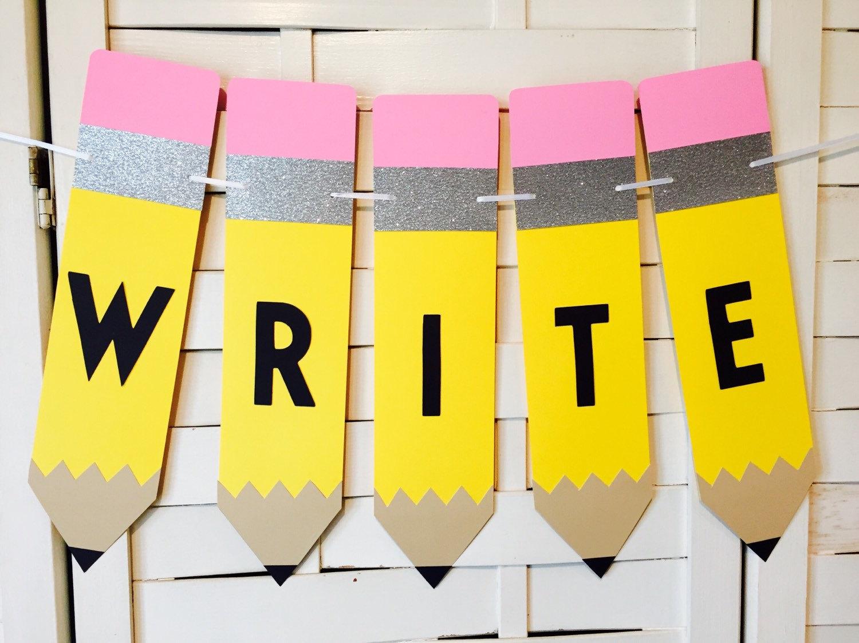 English Language Arts Classroom Decorations ~ Write banner teacher gift classroom decoration reading