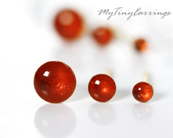 Set of 3 Pairs of Red Apple Glossy Piercing Earrings Mini Tiny 6, 4, 3 mm Stainless Steel Gold Plated Posts plus High Quality Epoxy Resin