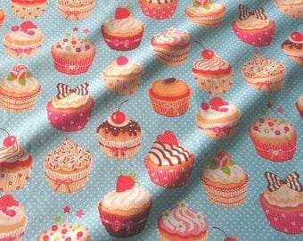 cotton fabric cupcakes muffins dots light blue colourful sweet