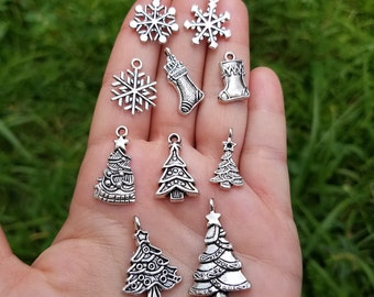 40 Pieces Christmas Charms Mixed, silver tone mix christmas charms, Mixed christmas charms, mixed winter charms B02718