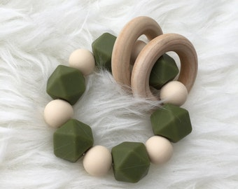 Army Green and Navajo Silicone a Teething Ring with wood rings