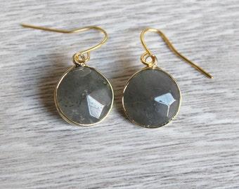 Genuine Amethyst quartz earrings anthracite