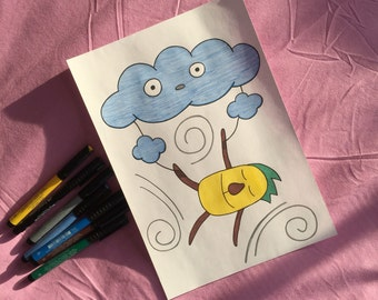 """A4-sized Artwork - """"Patata on the Clouds."""""""