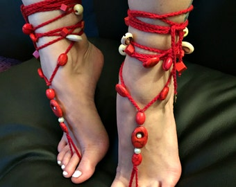 "Barefoot sandals ""the red infusion"""