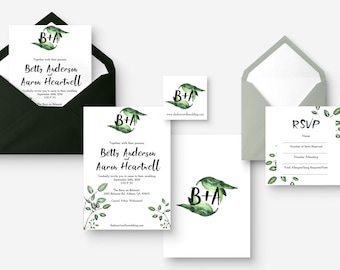 Environmentally Friendly Bold Rustic Watercolor Wedding Invitation Front and Back Design