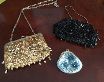 3 Girly Vintage Sparkly Purses Black Gold Turquoise!