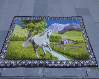 Wall hangings rug,Turkish wall decor rug,vintage wall hanging rug,illustrated running white horse rug,53'' x 39'' inches,animal design rug !